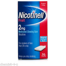 Nicorette 2mg Fruit Medicated Gum For Cravings and Nicotine Withdrawal 96