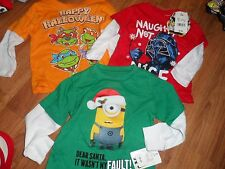 boy's lot of 3 t-shirts  Christmas Halloween 12 months 12m + FREE gift