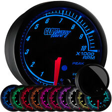 "2 1/16"" GlowShift Black Elite 10 Tachometer Gauge w Adjustable RPM Warnings"