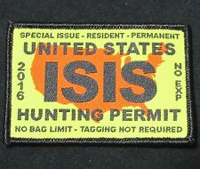 UNITED STATES ISIS HUNTING PERMIT US MORALE COLOR VELCRO® BRAND FASTENER PATCH