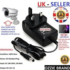 UK MAINS 12V / 1A Power Supply Adapter Switching AC 100-240V FOR CCTV/LIGHTS ETC