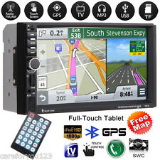 "GPS Navi 7"" Double 2 DIN HD Car Stereo MP5 Player FM USB TF Bluetooth Radio+Map"