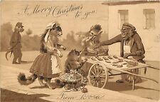 c1904 Christmas Postcard Dressed Cats buy Mice from Monkey Vendor Food Cart