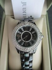 Judith Ripka Stainless Steel Diamonique Black Ceramic Watch Sz Small wBox/Pillow