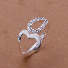 925 Silver Plated Heart & CZ Loop Ring  / Thumb Ring - Adjustable - Ladies gifts