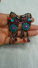 Statement Sorrelli faux emerald ruby crystal clip on   earrings