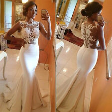 Sexy Women White Lace Mermaid Prom Wedding Party Evening Long Maxi Dress M L XL