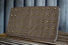 Beautiful ladies faux leather taupe & gold spike studded clutch bag