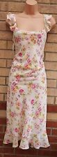 BONMARCHE WHITE ORANGE PINK LILAC FLORAL FRILL CHIFFON SKATER SUMMER DRESS 16 XL