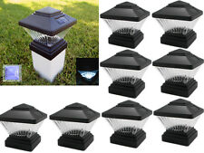 4x4 Outdoor Garden Solar LED Black Post Cap Square Fence Lights 8 Pack Black