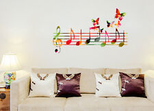 Wall Stickers Musical Notes Colourful with Butterflies Flying Home Decor