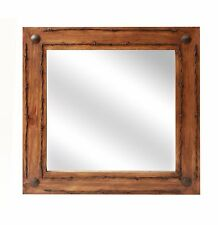 Old Ranch Rustic Barbed Wire Mirror-Mexican-24x24 in-Western-Lodge-Wood-Wall