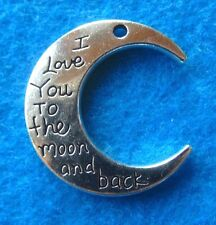 Pendant Tibetan Silver I Love You To The Moon And Back Heart Charm 2-sided