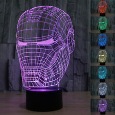 3D-Illusion Iron Man LED Night Light 7 Color Change Desk Table Lamp Xmas Gift