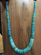 GRADUATED TURQUOISE AND BENCH BEAD Necklace STERLING SILVER RESTRUNG PAWN