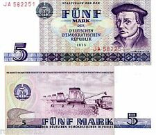 GERMANY EAST (DDR) 5 Marks Banknote World Currency Money BILL p27b 1975 Note