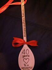 Personalised wooden spoon - 40th Ruby Wedding Anniversary, Wood  gift - keepsake