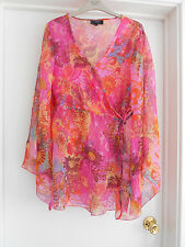 """AX PARIS"" STUNNING PINK FLORAL FLOATY TUNIC TOP - SIZE 14 - NEW!!!"