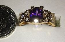 Yellow Gold Filled Oval Cut Purple Cubic Zirconia Costume Dress Ring - Sze N 1/2
