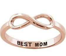 Rose Gold Sterling Silver Best Mom Engraved Infinity Ring Size 8