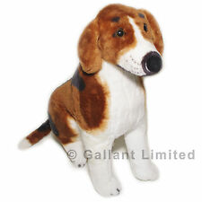 LARGE BROWN AND WHITE BIG STUFFED REALISTIC BEAGLE LIFELIKE CUDDLY DOG SOFT TOY