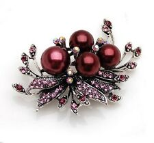 Vintage Antique Wine Red Pearls Corsage Bridal Wedding Brooch Pin BR204