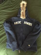 Abercrombie And Fitch Fur-Lined Navy Hooded Zip Jumper. Size M.
