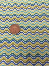 Crazy Daisy 100% Cotton Quilting Fabric Blue White Green Stripe By Half Metre