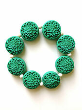 New Handmade Green Cinnabar Carved Flower White Howlite Beaded Stretch Bracelet