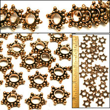 8mm Bali Style 100% SOLID COPPER Flat Rondelle Dotted STAR Spacer Beads 100pc
