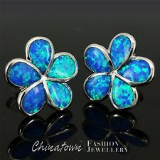 Plumeria Ocean Blue Fire Opal Inlay Silver Jewelry Stud Earrings