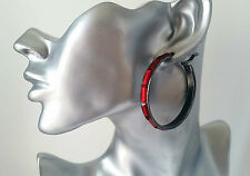 "Beautiful hematite - dark silver tone & red bead hoop earrings 2"" - 5cm * NEW *"