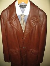 Reed Men Brown Leather 70's Fight Club Car Coat Blazer Spy Jacket 42 Reg Large