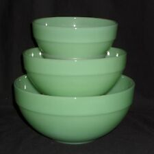 Fire King JADEITE *3PC COLONIAL RIM MIXING BOWL SET*OWFK USA*