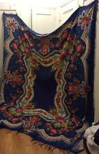 URBAN OUTFITTERS Blue Red Rose Flower Floral Tapestry Bedspread Retired! 90x100
