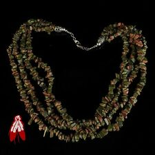 Vintage Navajo green unakite 4 strand necklace old pawn Native American jewelry