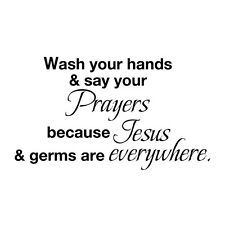 Bathroom Bible Wall Sticker Wash Your Hand Jesus Germs Removable Mural Art Decor