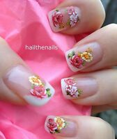 Nail Art Wraps Water Transfers Decals Flowers Roses french tips 3D Nails  Y1051