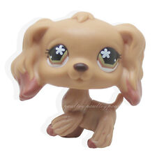 #716 Rare Littlest Pet Shop Brown Cocker Spaniel Dog Flower Eyes Animal LPS