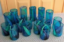 18 Piece Lot Mexican Glassware Blue Green Swirl Hand Blown Tumblers