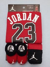 AIR JORDAN Newborn Baby 3-piece GIFT set: ROMPER, Cap, Booties 0-6 Months RED