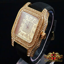 MEN'S ICED OUT ROSE GOLD FINISH ICE MASTER LAB DIAMOND SIMULATE SQUARE WATCH