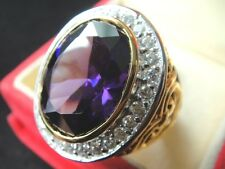 # 13.5 Deluxe PURPLE Sapphire MEN Gold 24K RING Gem CZ Jewelry Solitaire