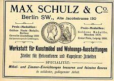 Max Schulz & Co. WERKSTATT FÜR KUNSTMÖBEL Historische Reklame von 1896