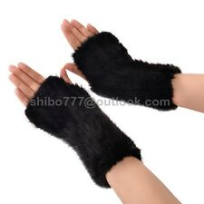 100% Real Hand-Made Knit Mink Fur Gloves Womens Fashion Winter Coat Jacket