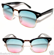 Men's Women's Sunglasses Clubmaster Wayfarer Black Gold Gradient Blue Pink Lens