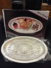 Silver Plated Gallery Relish Tray With 5 Section Removable Crystal Liner NEW!!!!