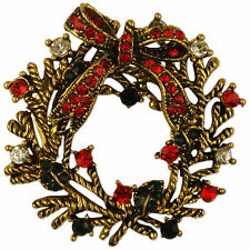 ANTIQUE PLATED CRYSTAL WREATH BROOCH WREATHE PIN MADE WITH SWAROVSKI ELEMENTS