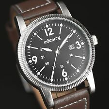 INFANTRY Mens Quartz Wrist Watch Date Luminous Military Dial Sport Brown Leather