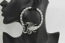 New Women Big Hoops Silver Metal Large Fashion Earrings Set Scorpion Hook Beads